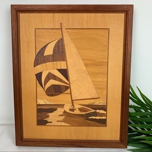 ONCE A TREE Inlaid Wood Sailboat Seascape Artwork